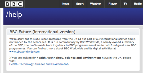 Accessing a restricted BBC site from the UK
